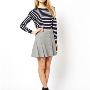 ASOS • Gray Skater Skirt In Rib With Button Front